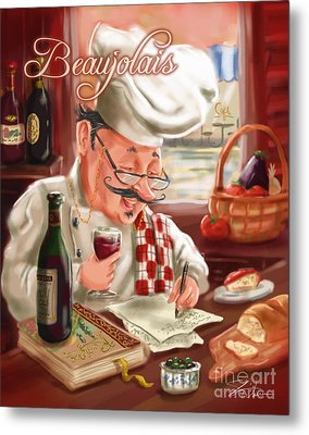 Busy Chef With Beaujolais Metal Print by Shari Warren