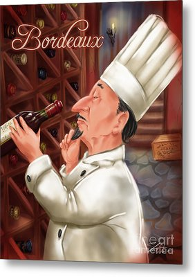 Busy Chef With Bordeaux Metal Print by Shari Warren