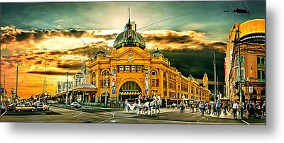 Busy Flinders St Station Metal Print by Az Jackson