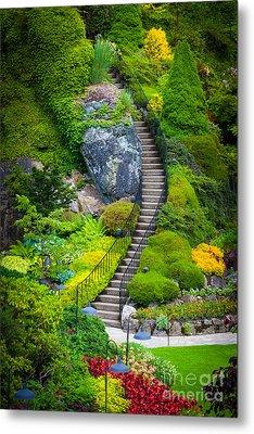 Butchart Gardens Stairs Metal Print by Inge Johnsson