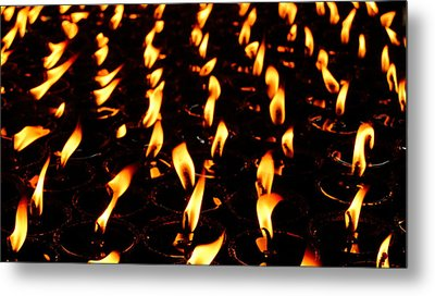 Butter Lamps In Bodhgaya Metal Print by Greg Holden