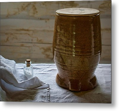 Butter Makers Crock And Salt Metal Print by Nikolyn McDonald