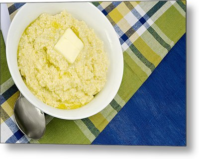 Cheese Grits With A Pat Of Butter Metal Print