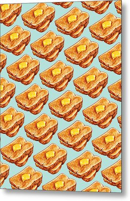 Buttered Toast Pattern Metal Print by Kelly Gilleran