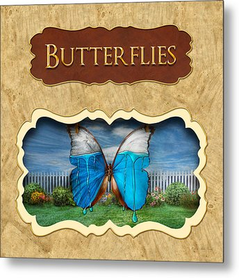 Butterflies Button Metal Print by Mike Savad