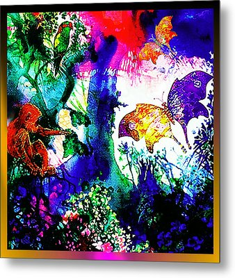 Metal Print featuring the mixed media Butterflies by Hartmut Jager