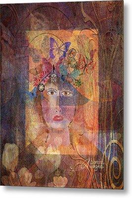 Metal Print featuring the digital art Butterflies In Her Hair by Arline Wagner