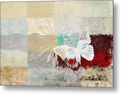 Butterfly And Daisy - 140109109w1t2a Metal Print by Variance Collections