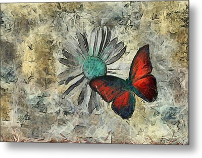 Butterfly And Daisy - Ftd01t01 Metal Print by Variance Collections
