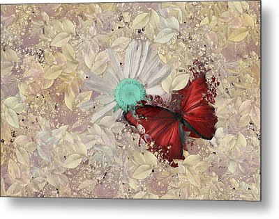 Butterfly And Daisy - S3001a Metal Print by Variance Collections
