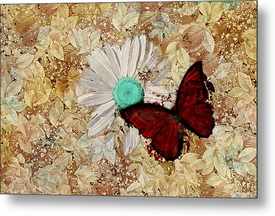 Butterfly And Daisy - S3003c Metal Print by Variance Collections