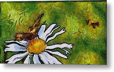 Metal Print featuring the painting Butterfly And Flower by Georgi Dimitrov