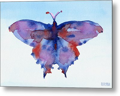 Butterfly Blue And Red Watercolor Painting Metal Print by Beverly Brown