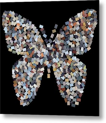 Butterfly Cubism On Black Metal Print