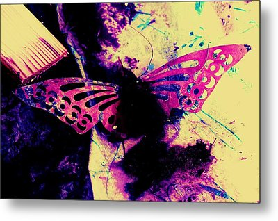 Metal Print featuring the photograph Butterfly Disintegration  by Jessica Shelton