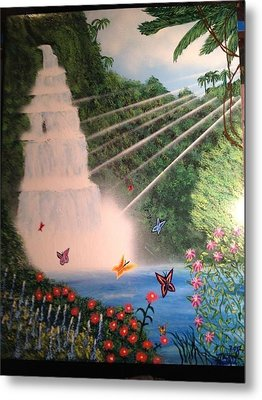 Metal Print featuring the painting Butterfly Falls by Michael Rucker