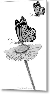 Metal Print featuring the digital art Butterfly Friends by Carol Jacobs