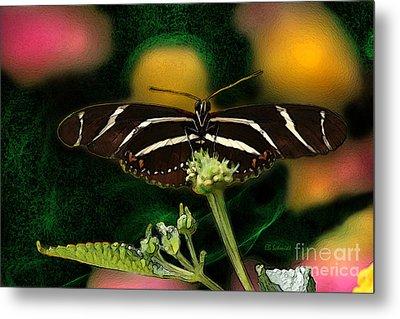 Metal Print featuring the digital art Butterfly Garden 06 - Zebra Heliconian by E B Schmidt