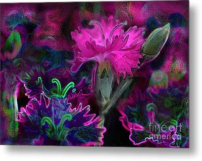 Metal Print featuring the digital art Butterfly Garden 08 - Carnations by E B Schmidt
