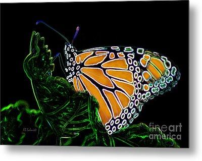 Metal Print featuring the digital art Butterfly Garden 12 - Monarch by E B Schmidt