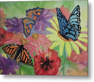 Metal Print featuring the painting Butterfly Garden by Ellen Levinson