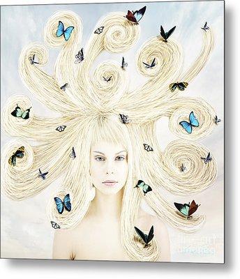 Butterfly Girl Metal Print by Linda Lees