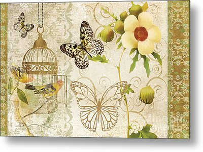 Butterfly Green Collage Metal Print by Grace Pullen