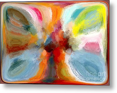 Butterfly In Abstract Metal Print by Andrea Auletta