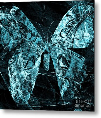Butterfly In Abstract Dsc2977cy Square Metal Print by Wingsdomain Art and Photography