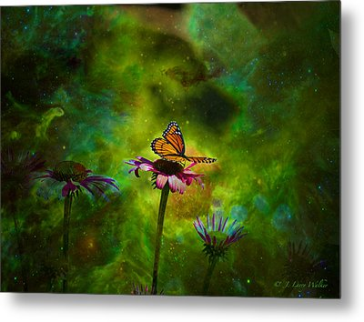 Metal Print featuring the digital art Butterfly In An Ethereal World by J Larry Walker