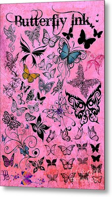 Butterfly Ink Metal Print