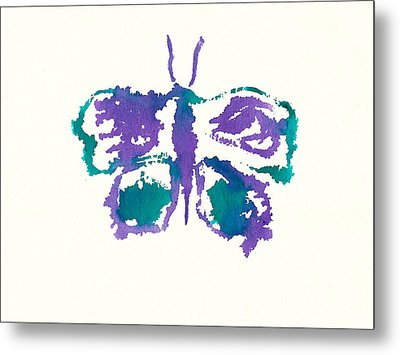 Metal Print featuring the painting Butterfly Inkblot by Frank Bright