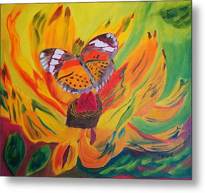 Butterfly Jungle Metal Print by Meryl Goudey
