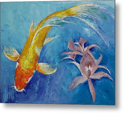 Butterfly Koi With Orchids Metal Print