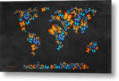 Butterfly Map Metal Print