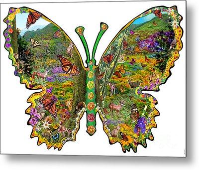 Butterfly Meadow Green Metal Print by Alixandra Mullins