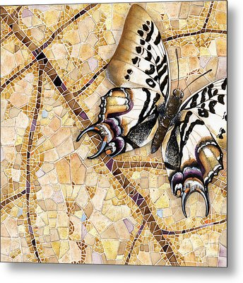 Metal Print featuring the painting Butterfly Mosaic 01 Elena Yakubovich by Elena Yakubovich
