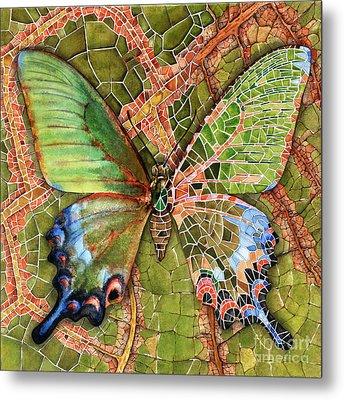 Metal Print featuring the painting Butterfly Mosaic 03 Elena Yakubovich by Elena Yakubovich