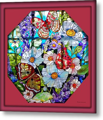 Butterfly Octagon Stained Glass Window Metal Print by Thomas Woolworth