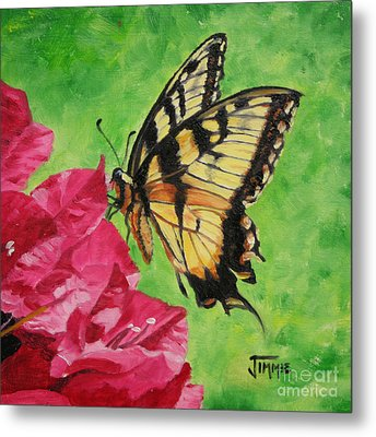 Metal Print featuring the painting Butterfly On Bougainvillea by Jimmie Bartlett