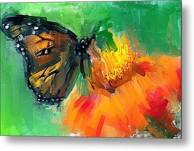 Butterfly On Flower Metal Print by Yury Malkov