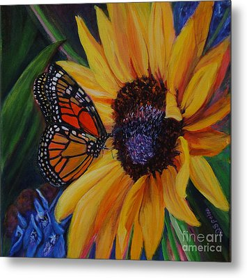 Butterfly On Sunflower Metal Print by Diane Speirs