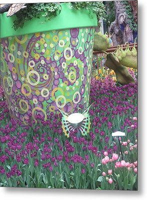 Metal Print featuring the photograph Butterfly Park Garden Painted Green Theme by Navin Joshi