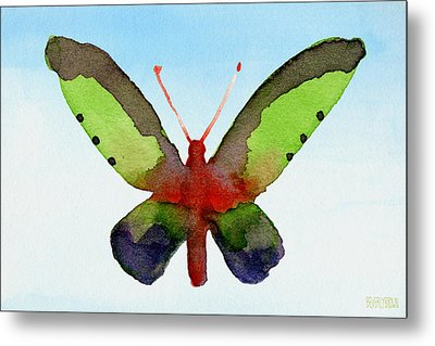 Butterfly Purple And Green Watercolor Art Print Metal Print by Beverly Brown