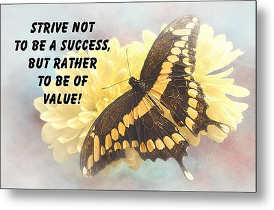 Butterfly Quote Metal Print by Rudy Umans