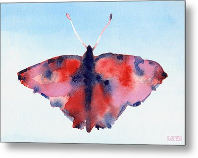 Butterfly Red And Blue Watercolor Painting Metal Print