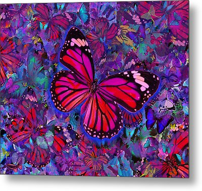 Butterfly Red Explosion Metal Print by Alixandra Mullins