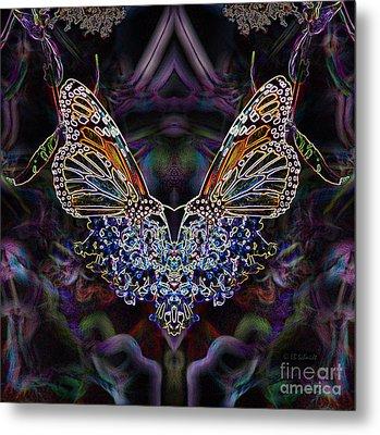 Metal Print featuring the digital art Butterfly Reflections 01 - Monarch by E B Schmidt
