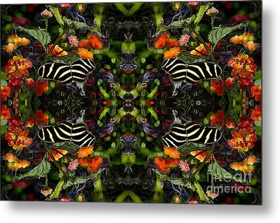 Metal Print featuring the digital art Butterfly Reflections 03 - Zebra Heliconian by E B Schmidt