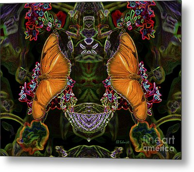 Metal Print featuring the digital art Butterfly Reflections 04 - Julia Heliconian by E B Schmidt